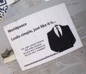 Wikileaks sticker worldpeace looks simple just like it is Amsterdam North 2013 September Anonymous