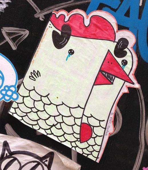 chicken kastoner art el prat Barna sticker kip Amsterdam center September 2013