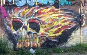 graffiti fire skull Amsterdam North 2013 September vuur-schedel