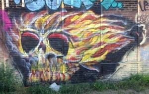 graffiti fire skull Amsterdam North 2013 September vuur-schedel