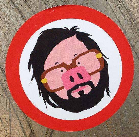 sticker Amsterdam North 2013 September swine man beard forbidden