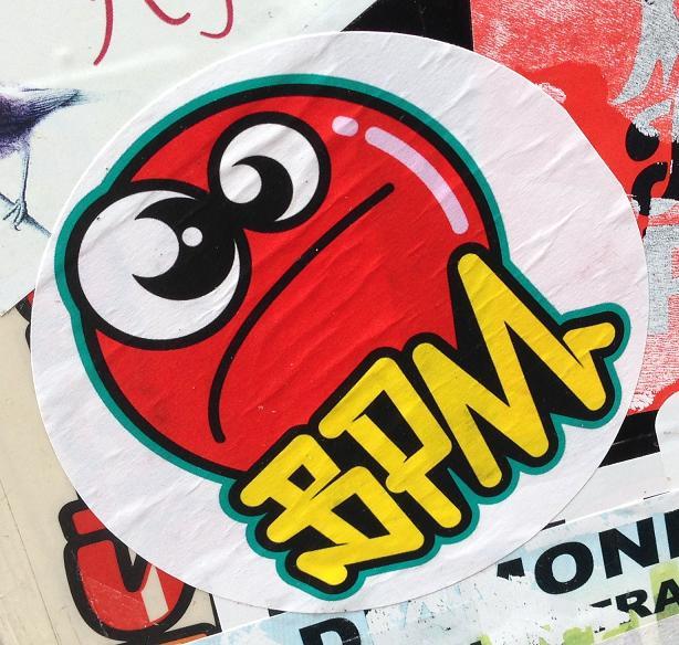 sticker BPM Amsterdam center September 2013 red face