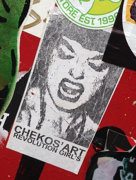 sticker Chekos art revolution girls Amsterdam center September 2013