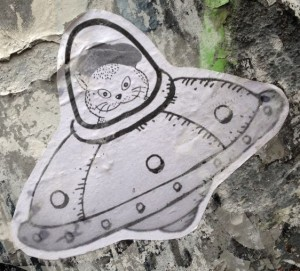 sticker El Gato Amsterdam 2013 December cat spaceship ufo