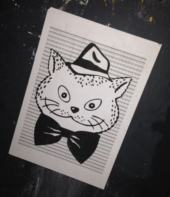 sticker El Gato Amsterdam center 2013 December cat hat street art