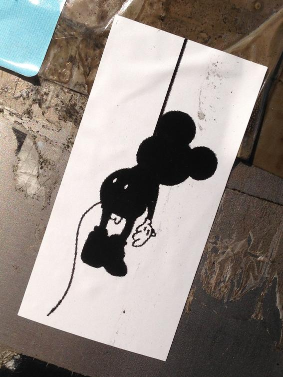 sticker Mickey Mouse hanged Amsterdam North 2013 September galg