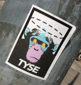 sticker Tyse chimpanzee Amsterdam Centrum 2013