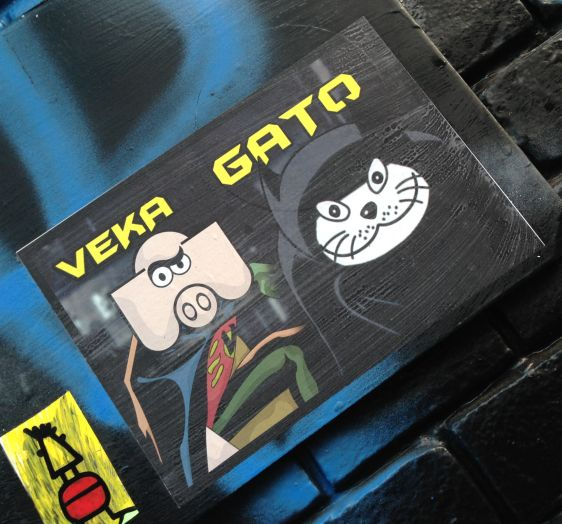 sticker Veka Vek El Gato Amsterdam center 2013 December collabo cat swine pig