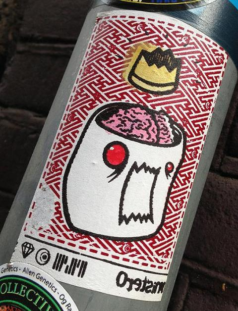 sticker head brain crown Amsterdam center September 2013