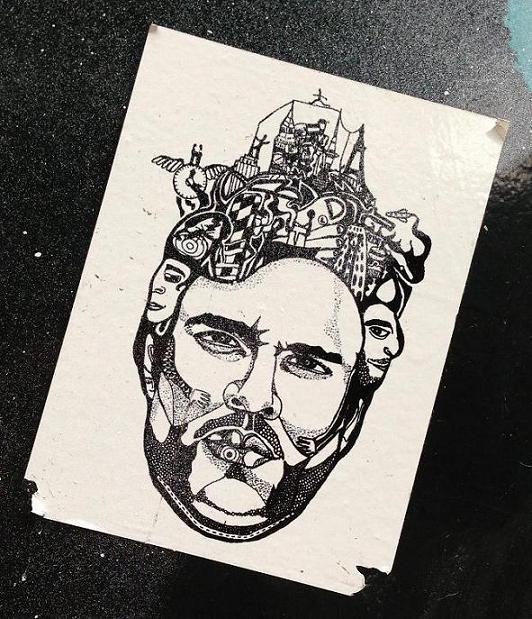 sticker man face weird Amsterdam center 2013 September