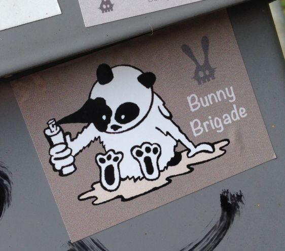 sticker panda spray-can Bunny Brigade Amsterdam Polderweg 2014 April