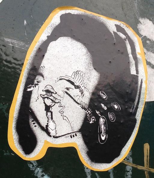 sticker weird head Amsterdam center 2013 September maf hoofd