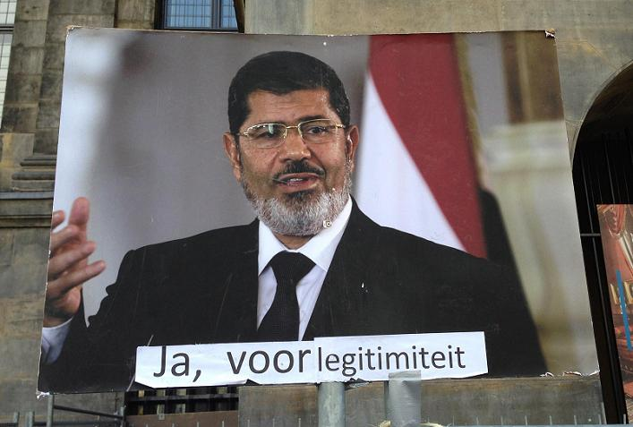Egypte demonstratie Morsi spandoek Amsterdam Dam 2013 Mursi legitimacy