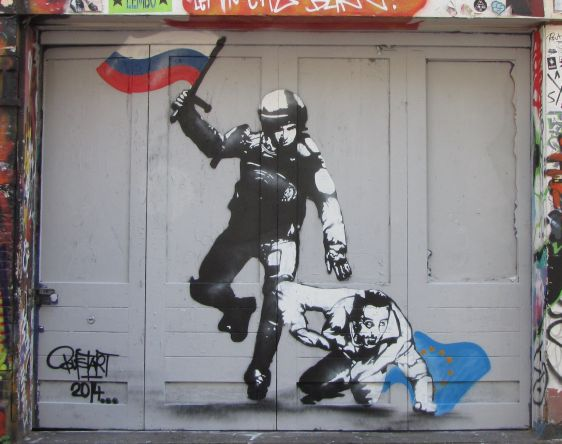 Russian police graffiti Bust-Art Amsterdam Spuistraat 2014 June