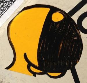 Sta ApC sticker cyclops Amsterdam center September 2013 yellow black