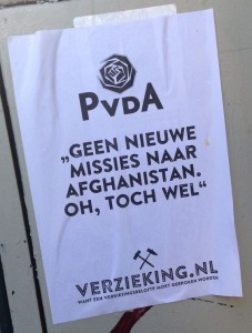 anti-PvdA poster Verzieking Afghanistan 2014 February Amsterdam center