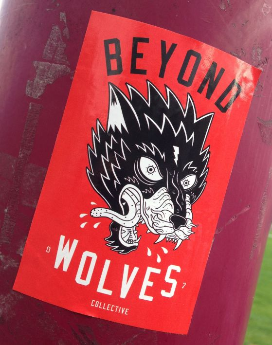 sticker Beyond wolves collective Amsterdam juli 2013 wolf