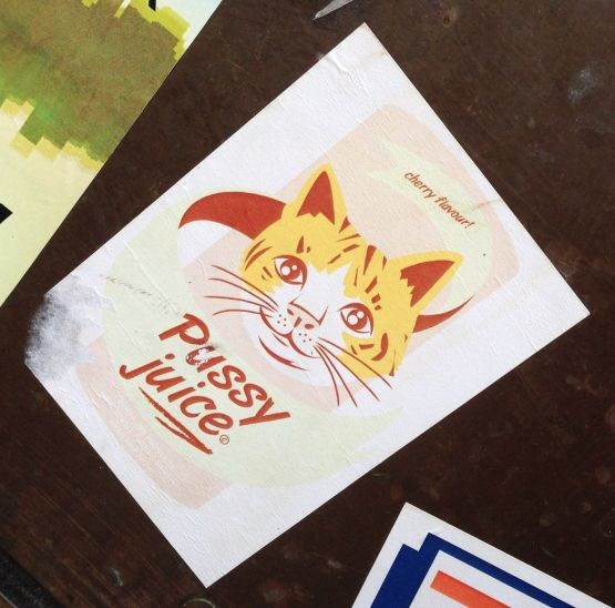 sticker Pussy Juice cherry flavour Amsterdam center 2013 September cat-GR