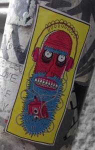sticker old man beard headphone Amsterdam Spui 2013