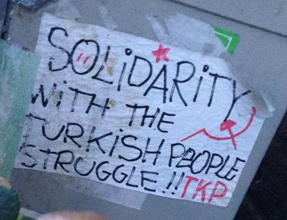 sticker solidarity with Turkish people struggle 2014 January Amsterdam center