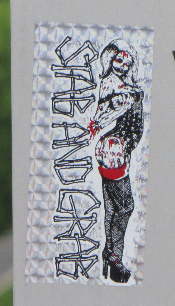 sticker stab & grab Philadelphia 2014 July zombie woman blood horror