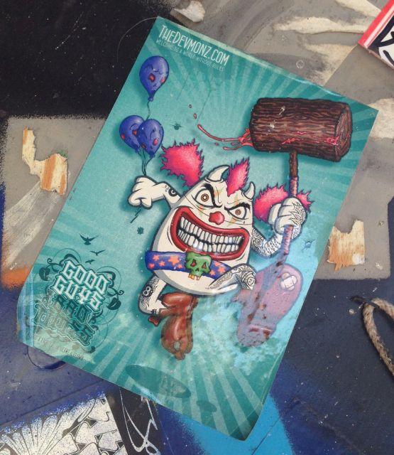 sticker the-devmonz good guys Amsterdam center 2013 September clown blood sledgehammer