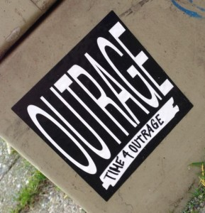 Sticker Outrage Amsterdam 2013 December time 4 outrage