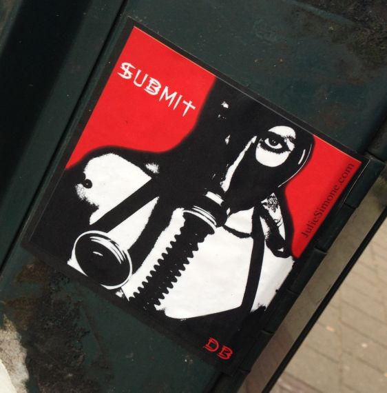 sticker submit gasmask Amsterdam 2013 December Julie Simone