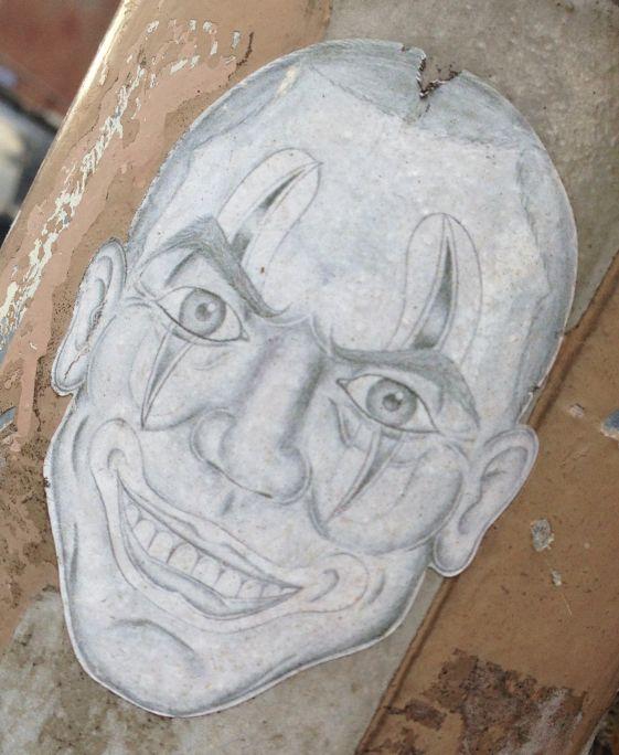 sticker weird face man Amsterdam West 2013 November scary clown