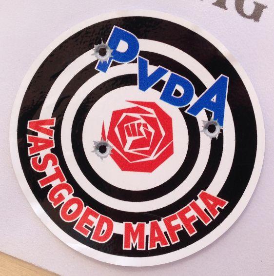 PvdA sticker vastgoed maffia Amsterdam NDSM 2014 March anti-politics