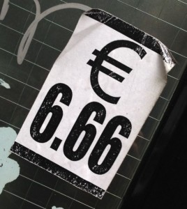 sticker 666 euro Amsterdam Spuistraat 2013 November money