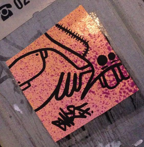 sticker creature BW2F Amsterdam center January 2014 004