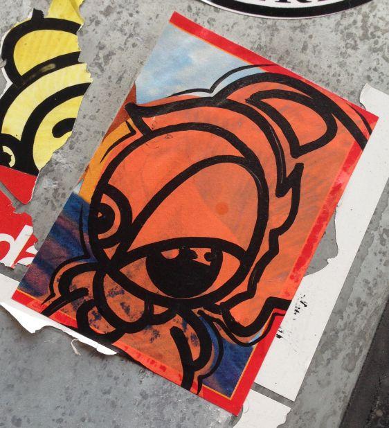 sticker creature sceptical Amsterdam center Spui 2014 March