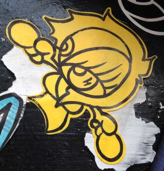 sticker girl woman Amsterdam center 2013 December 006