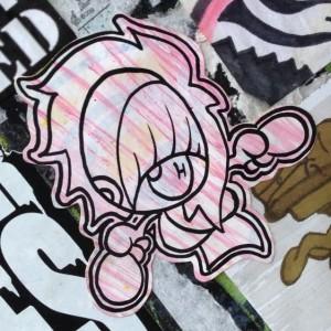 sticker girl woman Amsterdam center 2013 December 007