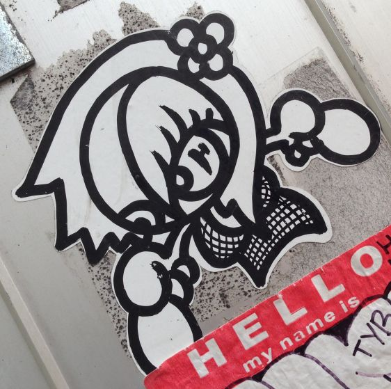 sticker girl woman Amsterdam center 2013 October 011