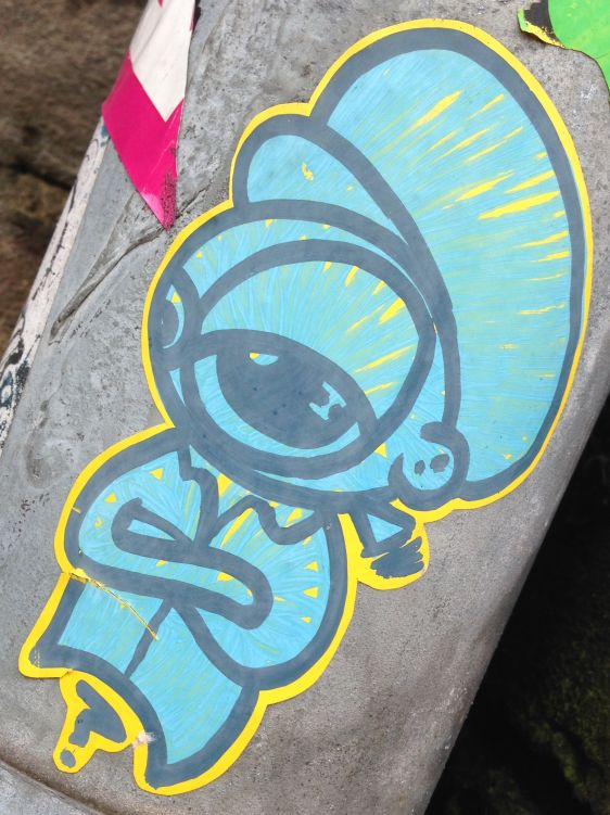 sticker man hat joint Amsterdam center 2014 February blue