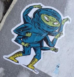 sticker ninja 6 arms Amsterdam December 2013 assassin