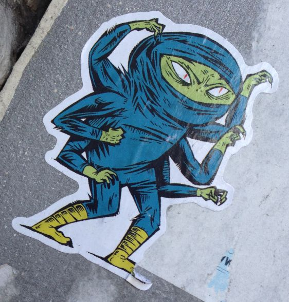 sticker ninja 6 arms Amsterdam December 2013 assassin