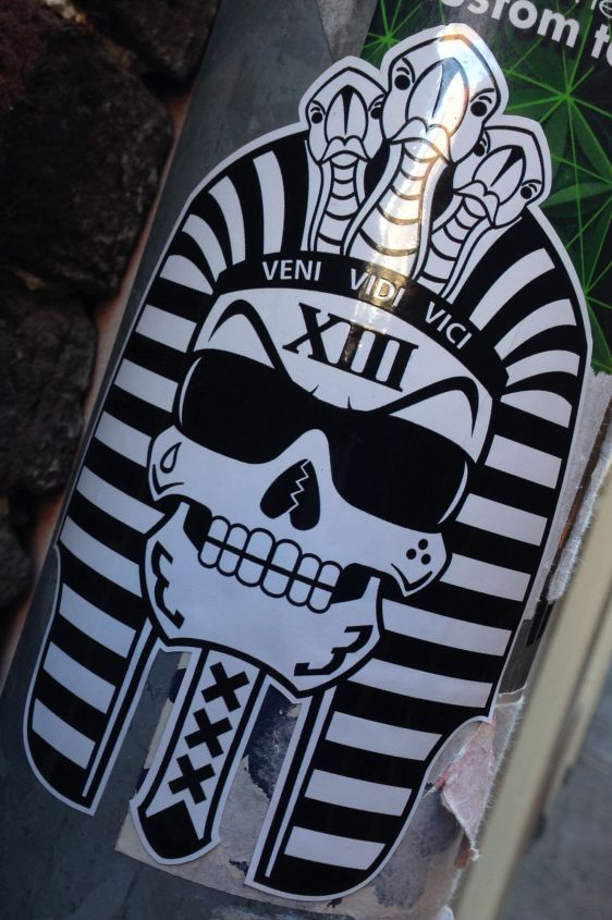 sticker pharao skull 2014 March Amsterdam center veni vidi vici Egypt