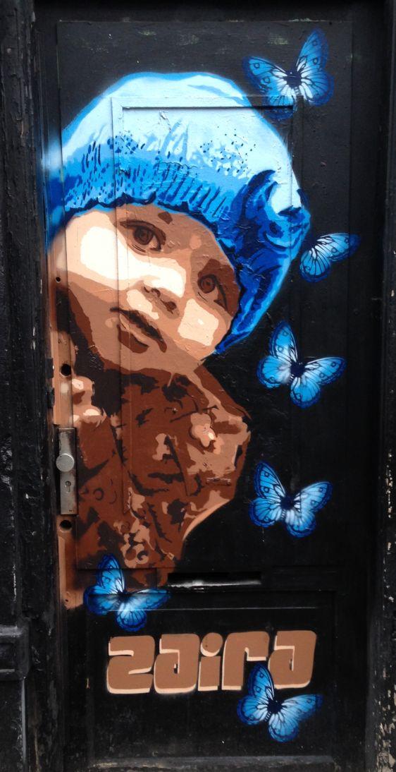 graffiti Zaira girl butterflies Amsterdam center 2014 February