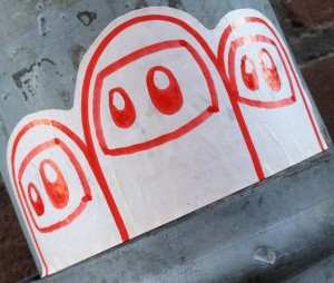 image sticker cute niqab Amsterdam December 2013 red