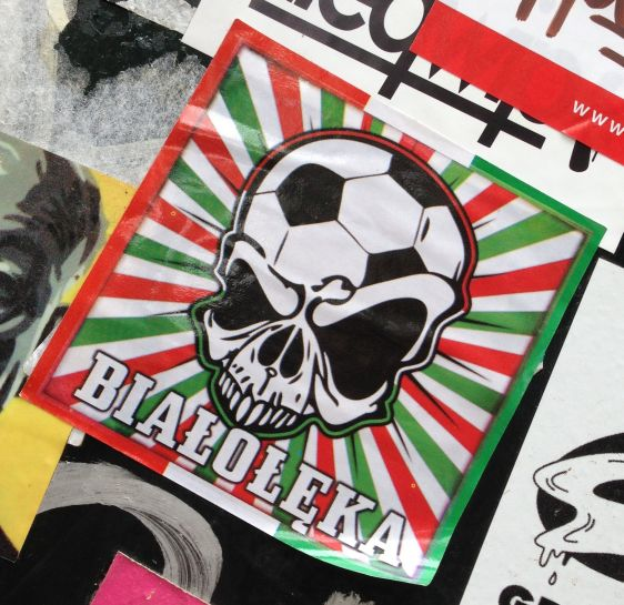 sticker BialoLeka Amsterdam center August 2013 skull football