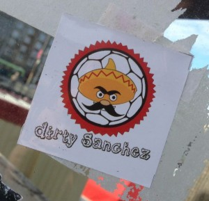 sticker Dirty Sanchez porn sex moustache Amsterdam 2014 November