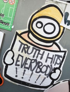 sticker LN truth hits everybody Amsterdam center March 2014