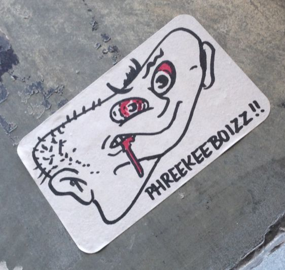 sticker Phreekeeboizz Amsterdam December 2013 boy man weird blood eye