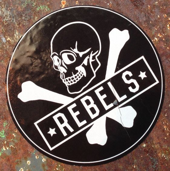 sticker Rebels Amsterdam East 2014 March skull bones schedel