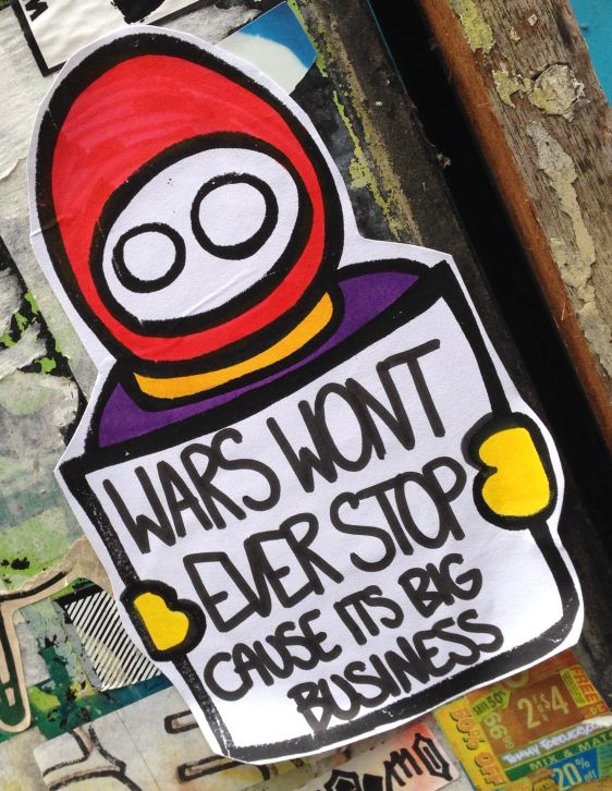 sticker Wars wont ever stop cause its big business LN Amsterdam center 2014 February
