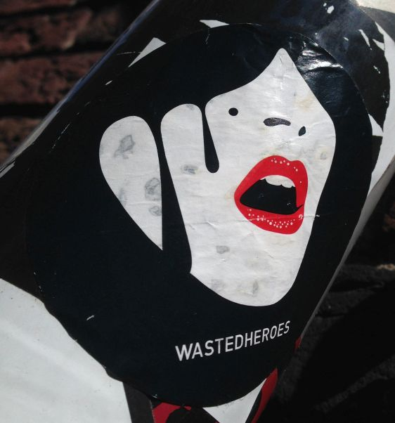 sticker Wasted heroes Amsterdam center 2014 May woman face girl