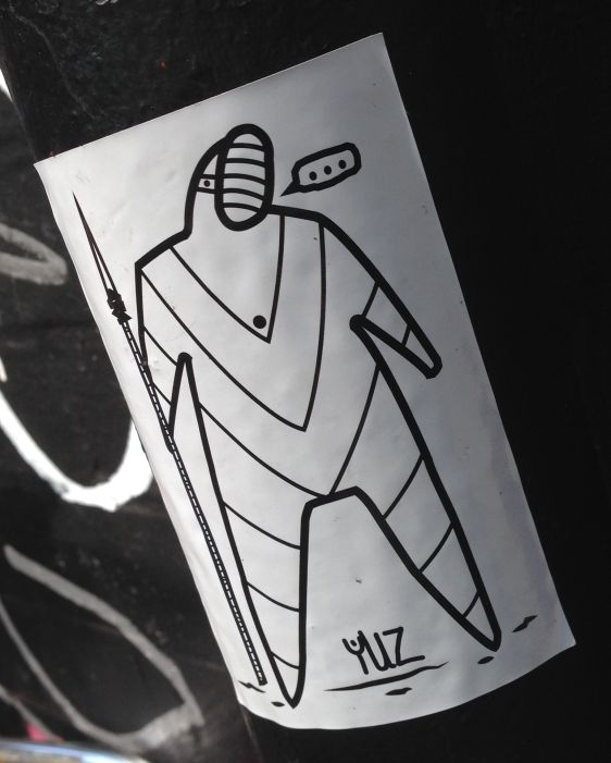 sticker YUZ Spuistraat Amsterdam 2014 April man spear mask weapon